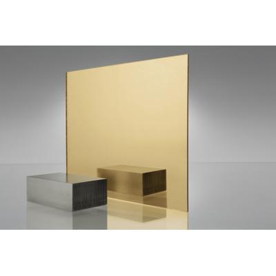 Двухслойный пластик для гравировки Metzoplast 2мм зеркальное золото/чёрный