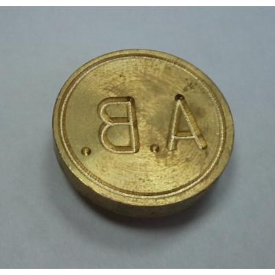 Металлическая печать ручка-кольцо латунь d24 2 круга